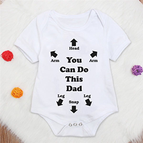 white short sleeve bodysuit, You Can Do This Dad, unisex bodysuit with quirky slogan, baby girl clothing, baby boy clothing