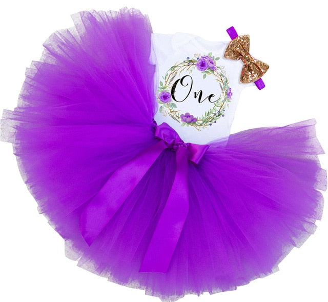 baby's 1st birthday outfit with purple tutu