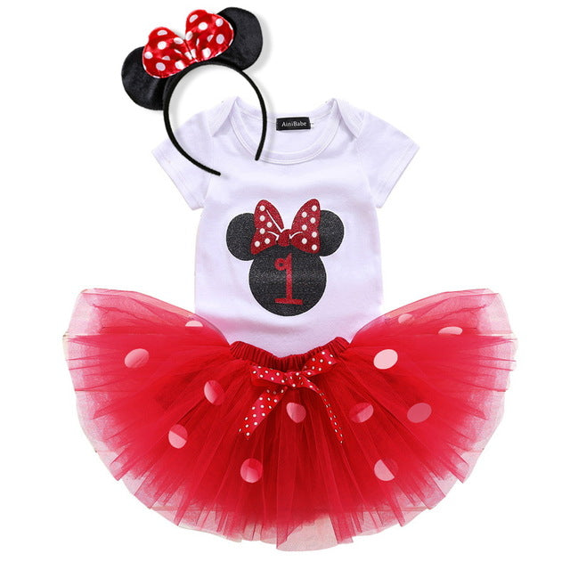 red mouse theme 1st birthday outfit, baby's 1st birthday