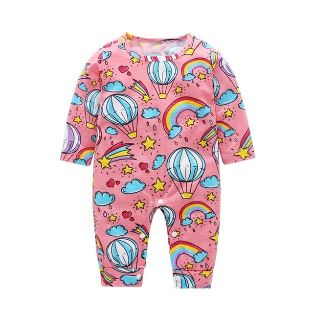 baby girl romper, long sleeve romper, pink with rainbows and balloon print