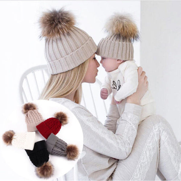 mother and baby matching hat, matching pom pom hat, knitted hat