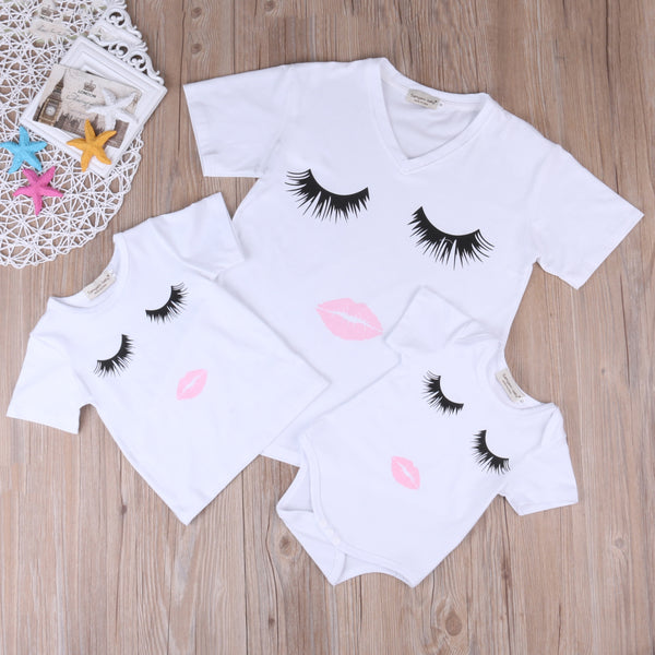 Mother and Daughter Outfit Eyelash Lips Printed T-Shirt