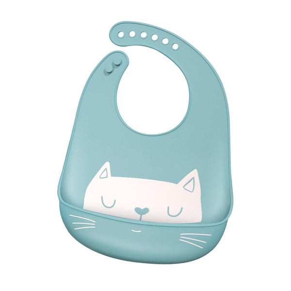 waterproof silicone bib, blue silicon bib, adjustable feeding bib