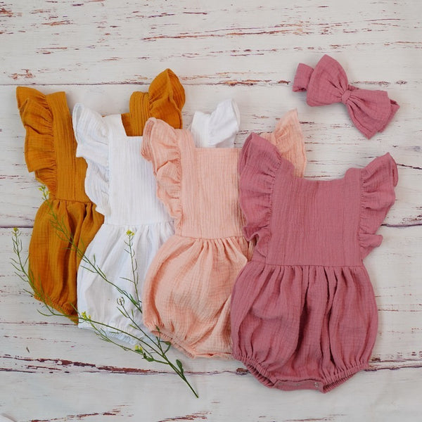 organic cotton playsuit, baby girl romper with matching headband.
