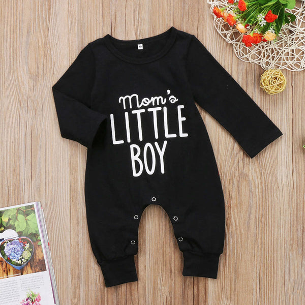 black long sleeve romper, baby boy romper, mom's little boy