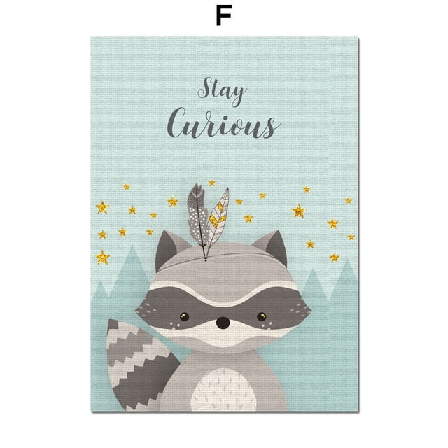 stay curious raccoon canvas wall hanging
