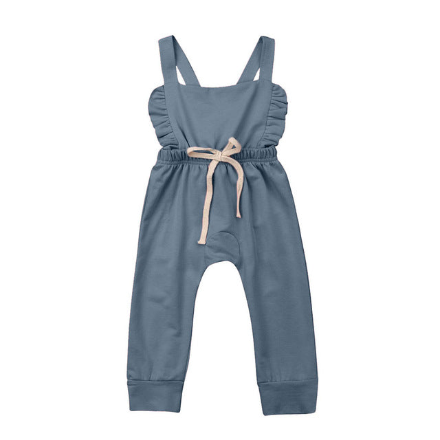 Newborn Baby Girl Striped Ruffle Romper | Overalls Jumpsuit Clothes