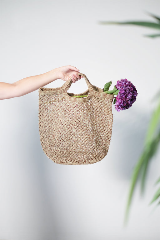 Olive Jute Macrame Shopping Bag