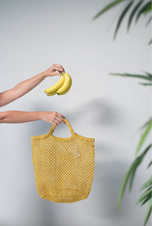 Ochre Jute Macrame Shopping Bag