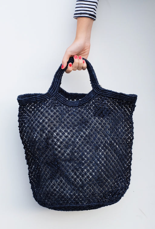 Navy Jute Macrame Shopping Bag