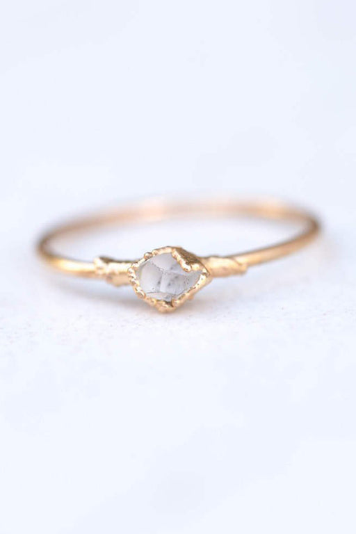 Gold Plated Herkimer Diamond Ring