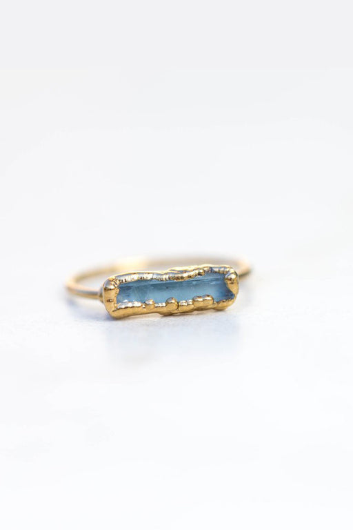 Gold Plated Raw Aquamarine Ring