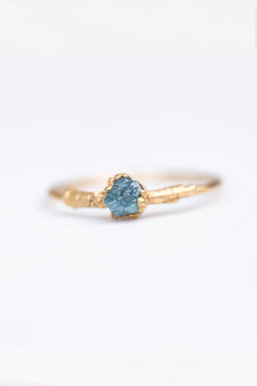 Gold Plated Rough Blue Diamond Ring