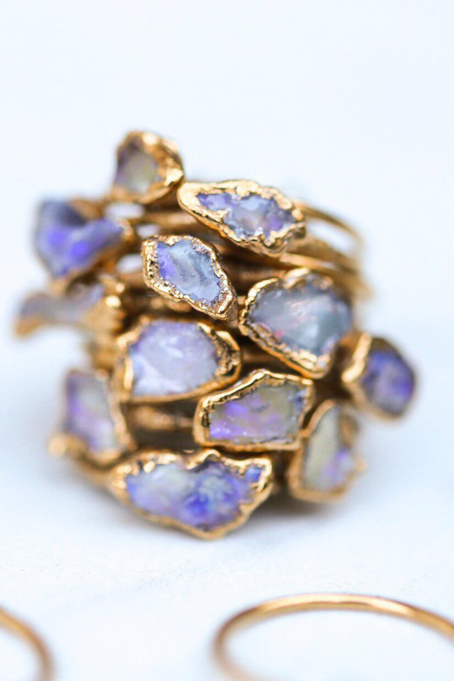Gold Plated Raw Opal Ring