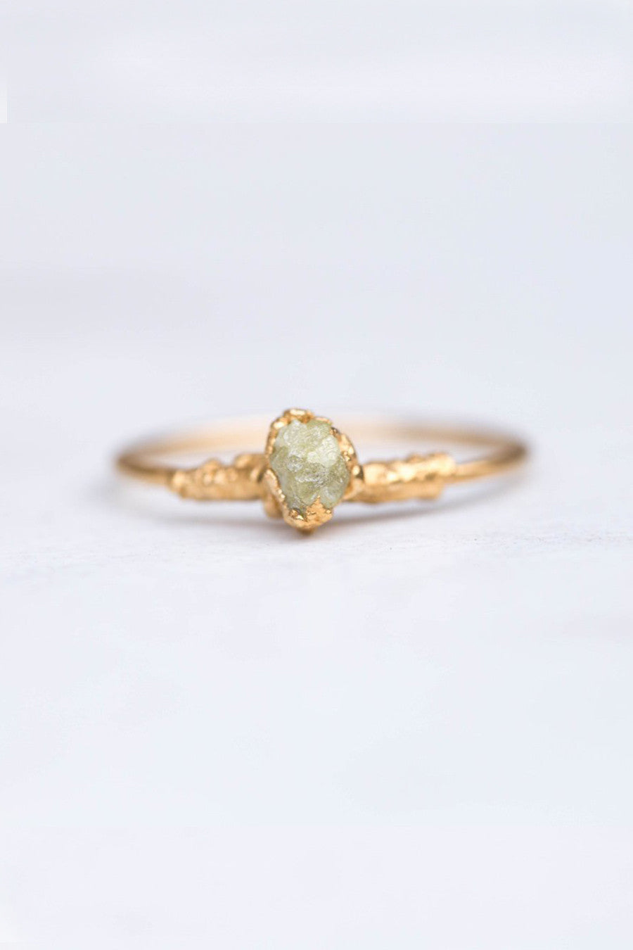 Gold Plated Rough Yellow Diamond Ring