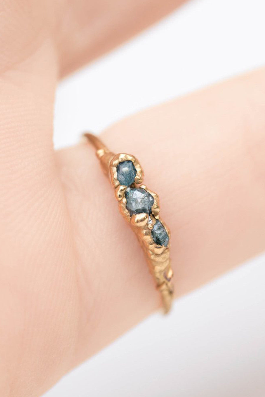 Triple Raw Blue Diamond Ring