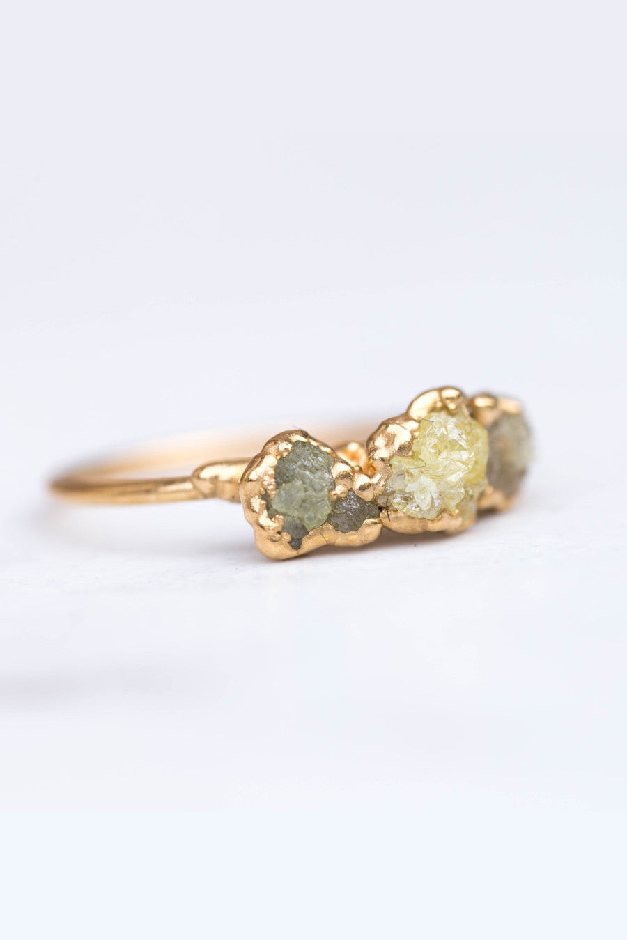 Raw Triple Yellow Diamond Ring