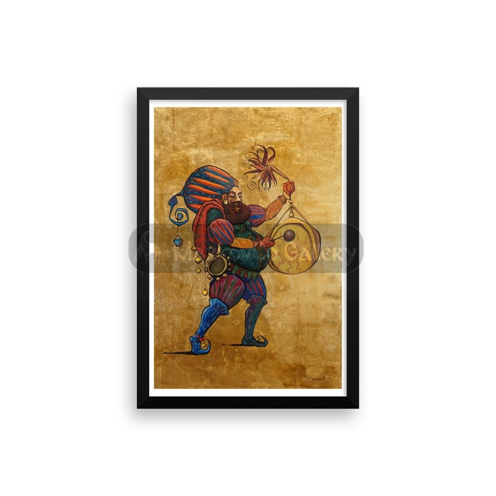 Gong Musician By Trifon Markov 18×24 Framed Poster