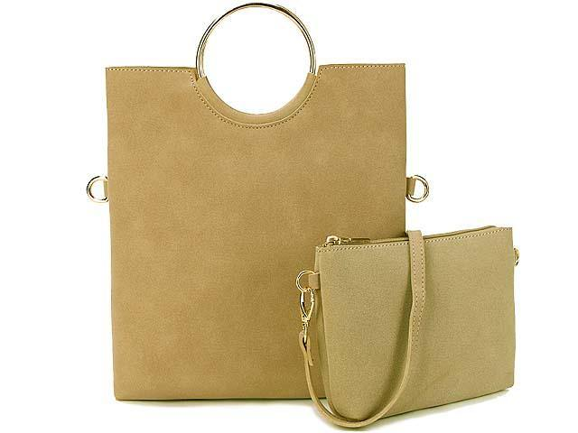 A-SHU 2 PIECE FAUX SUEDE HOLDALL HANDBAG / FOLD-OVER CLUTCH BAG WITH CROSS-BODY BAG - BEIGE - A-SHU.CO.UK