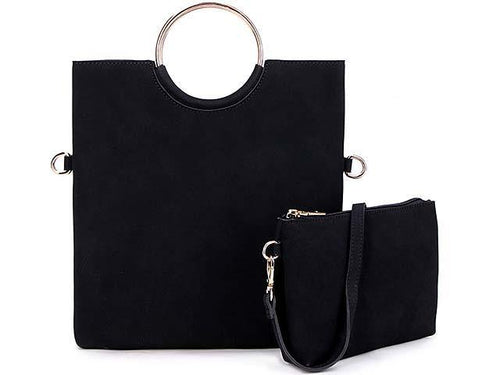 A-SHU 2 PIECE FAUX SUEDE HOLDALL HANDBAG / FOLD-OVER CLUTCH BAG WITH CROSS-BODY BAG - BLACK - A-SHU.CO.UK