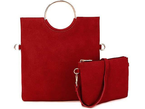 A-SHU 2 PIECE FAUX SUEDE HOLDALL HANDBAG / FOLD-OVER CLUTCH BAG WITH CROSS-BODY BAG - DEEP RED - A-SHU.CO.UK