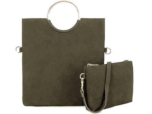 A-SHU 2 PIECE FAUX SUEDE HOLDALL HANDBAG / FOLD-OVER CLUTCH BAG WITH CROSS-BODY BAG - GREY - A-SHU.CO.UK