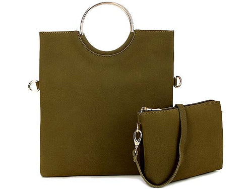 A-SHU 2 PIECE FAUX SUEDE HOLDALL HANDBAG / FOLD-OVER CLUTCH BAG WITH CROSS-BODY BAG - KHAKI GREEN - A-SHU.CO.UK