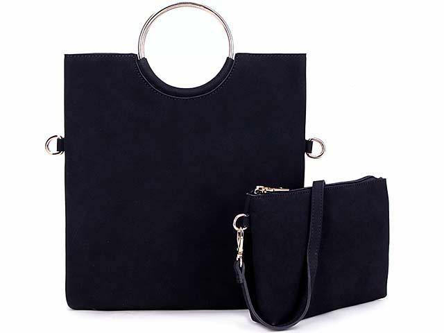 A-SHU 2 PIECE FAUX SUEDE HOLDALL HANDBAG / FOLD-OVER CLUTCH BAG WITH CROSS-BODY BAG - NAVY BLUE - A-SHU.CO.UK