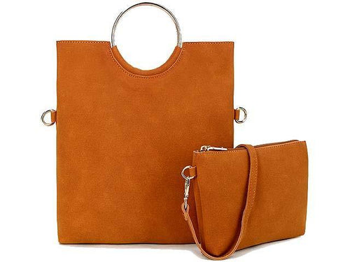 A-SHU 2 PIECE FAUX SUEDE HOLDALL HANDBAG / FOLD-OVER CLUTCH BAG WITH CROSS-BODY BAG - TAN - A-SHU.CO.UK