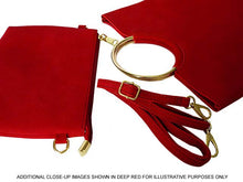 A-SHU 2 PIECE FAUX SUEDE HOLDALL HANDBAG / FOLD-OVER CLUTCH BAG WITH CROSS-BODY BAG - MAROON - A-SHU.CO.UK