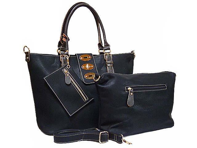 4 PIECE BLACK PART LEATHER TOTE SET WITH INTERNAL BAG, PURSE AND LONG STRAP