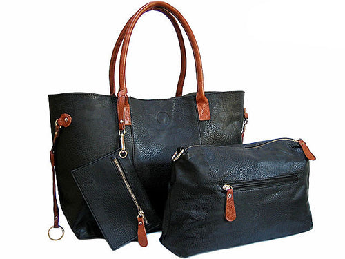 4 PIECE BLACK TOTE SET WITH INTERNAL BAG, PURSE AND LONG SHOULDER STRAP