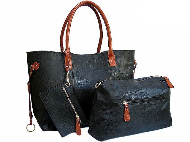 A-SHU 4 PIECE BLACK TOTE SET WITH INTERNAL BAG, PURSE AND LONG SHOULDER STRAP - A-SHU.CO.UK