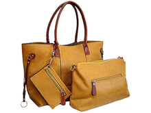 A-SHU 4 PIECE MUSTARD YELLOW TOTE SET WITH INTERNAL BAG, PURSE AND LONG SHOULDER STRAP