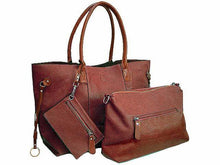 A-SHU 4 PIECE BROWN TOTE SET WITH INTERNAL BAG, PURSE AND LONG SHOULDER STRAP - A-SHU.CO.UK