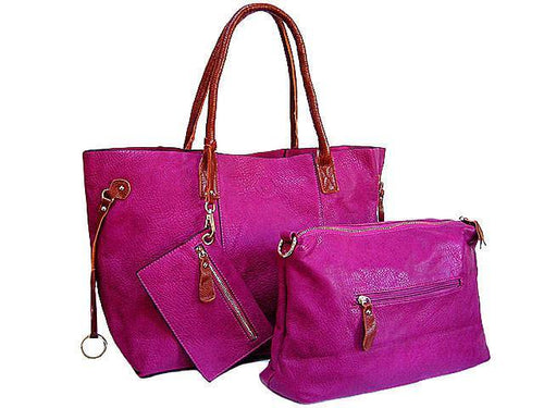 4 PIECE FUSHCIA PINK TOTE SET WITH INTERNAL BAG, PURSE AND LONG SHOULDER STRAP