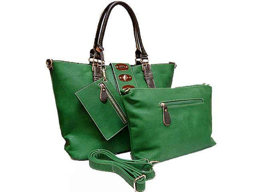 4 PIECE GREEN PART LEATHER TOTE SET WITH INTERNAL BAG, PURSE AND LONG STRAP