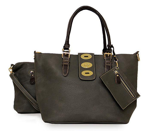 A-SHU 4 PIECE GREY PART LEATHER TOTE SET WITH INTERNAL BAG, PURSE AND LONG STRAP - A-SHU.CO.UK