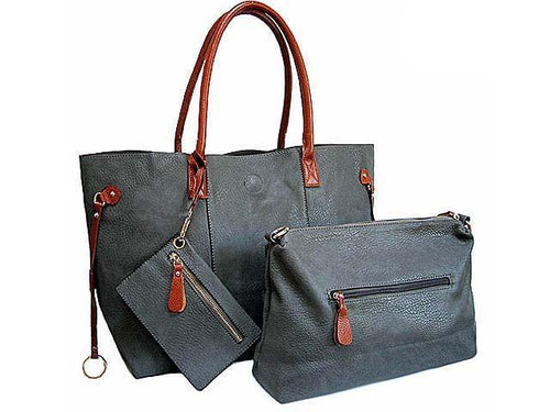 A-SHU ORDER BY REQUEST - 4 PIECE GREY TOTE SET WITH INTERNAL BAG, PURSE AND LONG SHOULDER STRAP - A-SHU.CO.UK