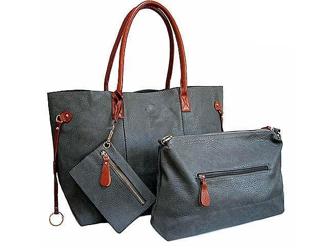 A-SHU 4 PIECE GREY TOTE SET WITH INTERNAL BAG, PURSE AND LONG SHOULDER STRAP - A-SHU.CO.UK