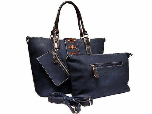 4 PIECE NAVY BLUE PART LEATHER TOTE SET WITH INTERNAL BAG, PURSE AND LONG STRAP