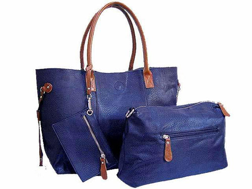 A-SHU 4 PIECE NAVY TOTE SET WITH INTERNAL BAG, PURSE AND LONG SHOULDER STRAP