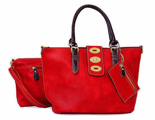 A-SHU 4 PIECE RED PART LEATHER TOTE SET WITH INTERNAL BAG, PURSE AND LONG STRAP - A-SHU.CO.UK