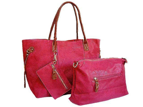 A-SHU 4 PIECE RED TOTE SET WITH INTERNAL BAG, PURSE AND LONG SHOULDER STRAP