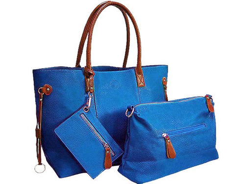 4 PIECE ROYAL BLUE TOTE SET WITH INTERNAL BAG, PURSE AND LONG SHOULDER STRAP