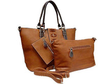 A-SHU 4 PIECE TAN PART LEATHER TOTE SET WITH INTERNAL BAG, PURSE AND LONG STRAP - A-SHU.CO.UK