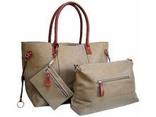 4 PIECE TAUPE BEIGE TOTE SET WITH INTERNAL BAG, PURSE AND LONG SHOULDER STRAP