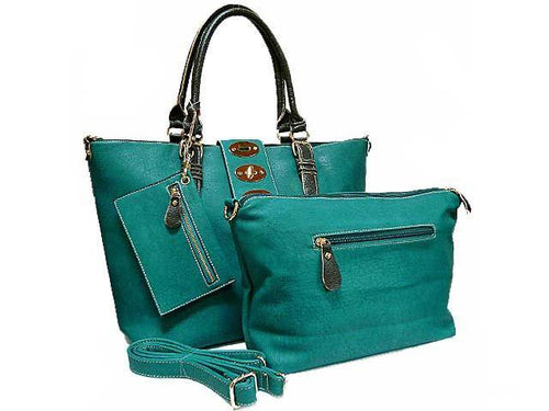 4 PIECE TURQUOISE PART LEATHER TOTE SET WITH INTERNAL BAG, PURSE AND LONG STRAP