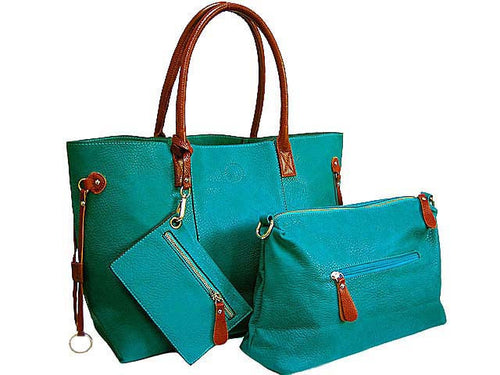 4 PIECE TURQUOISE TOTE SET WITH INTERNAL BAG, PURSE AND LONG SHOULDER STRAP