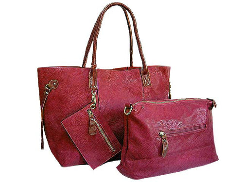 4 PIECE MAROON WINE TOTE SET WITH INTERNAL BAG, PURSE AND LONG SHOULDER STRAP